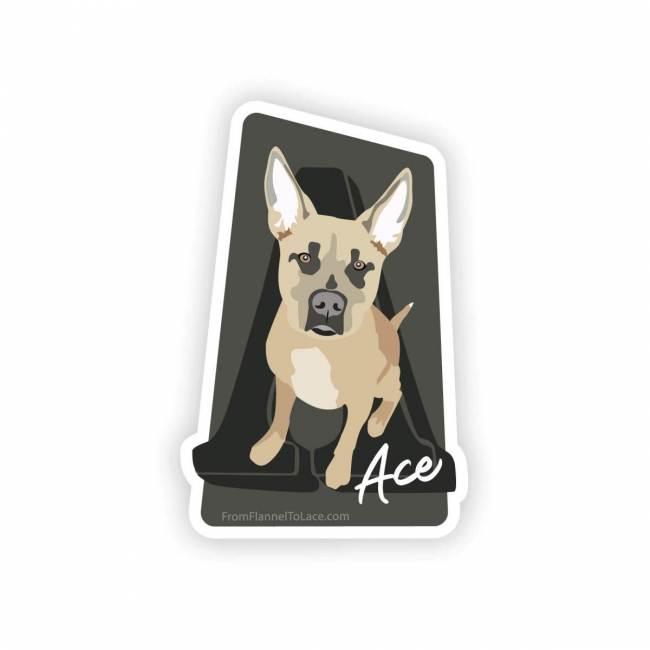 Ace, custom dog sticker